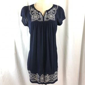 Boho Mini Dress by One Clothing in Navy and White